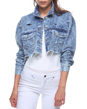 Outerwear - Destructed Crop Denim Jacket-2207466