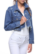Outerwear - Destructed Crop Denim Jacket