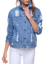 Outerwear - Destructed Denim Jacket-2207445