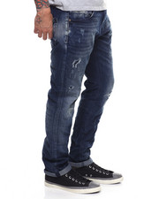 Jeans - MEDIUM WASH AGED STRETCH JEAN W WORN DETAIL