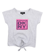 Girls - DKNY Stack Tie Front Top(2T-4T)