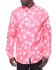 Trunks - L/S Coconut Tree Linen Rollup Shirt-2211070