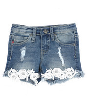 Girls - Foral Crochet Hem Short (4-6X)