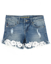 Girls - Floral Crochet Hem Short (7-16)