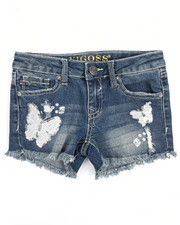 Girls - White Butterflies Shorts (7-16)