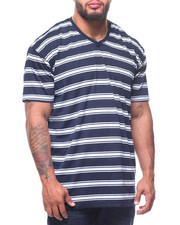 T-Shirts - S/S V-Neck 2 Tone Stripe Tee (B&T)-2211149