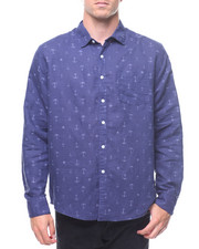 Trunks - L/S Anchors Coconut Tree Linen Rollup Shirt-2211698