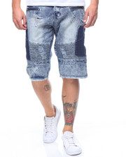 Buyers Picks - STRETCH MOTO DENIM SHORT W RIPPED OFF CARGO POCKETS-2211891