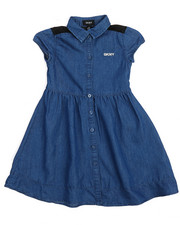 Dresses - Denim Shirtdress w/Mesh Back Yoke (4-6X)