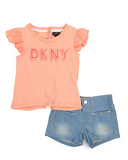 DKNY Jeans - DK Flutter Sleeve 2 Piece Short Set (2T-4T)-2211035