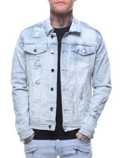 Outerwear - LIGHT BLUE RIP AND REPAIR JEAN JACKET-2212742