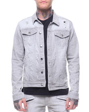 Kilogram - LIGHT GREY NAIL HEAD DENIM JACKET-2212725