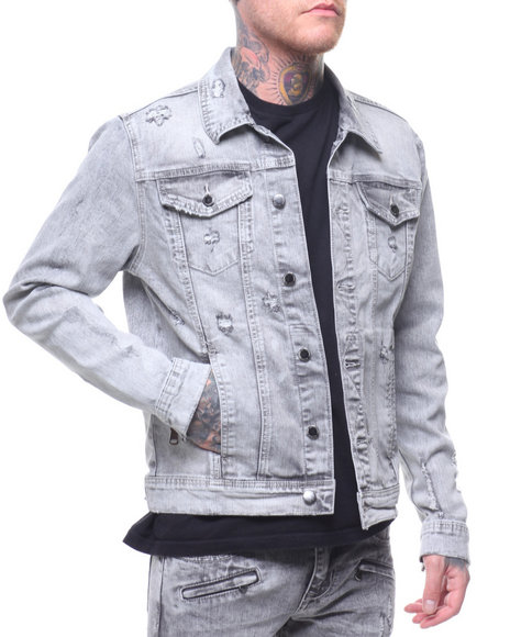 8559feea6cd62 Buy MEDIUM GREY DISTRESSED JEAN JACKET Men s Outerwear from Kilogram ...