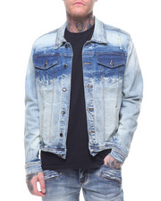 Kilogram - DARK BLUE DYED STRIPE JEAN JACKET-2212731