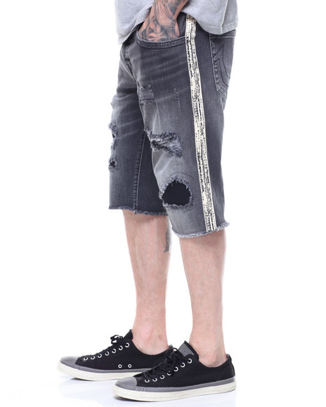 True Religion - GENO Distressed Denim SHORT w Side Stripe