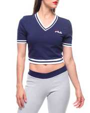 Fila - Narla V-neck Stretch Rib Crop Tee-2213554