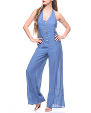 Jumpsuits - Halter Neck Button Front Wide Leg Jumpsuit-2213370