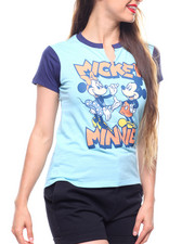 Women - Mickey  & Minnie Vintage Split V-Neck Contrast Tee-2213308