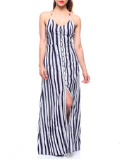Women - Stripe Halter Neck Open Back Maxi Dress-2213382