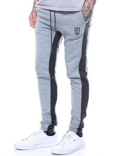 Jeans & Pants - CONTRAST PANEL FLEECE JOGGER-2214729