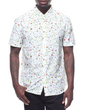 Shirts - FLORAL STEMS SILK COTTON S/S BUTTONDOWN