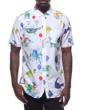 Oxford Lads - PARTY ANIMAL SILK COTTON S/S BUTTONDOWN-2215422