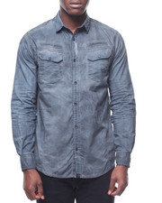 Button-downs - OVER DYED BUTTONDOWN SHIRT W SNAP