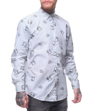 Button-downs - Skull and Roses Stripe Buttondown Shirt