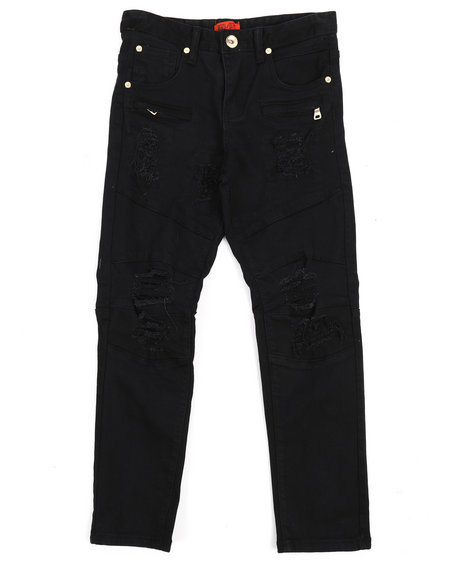 Arcade Styles - Twill Biker Fit Rip And Tear Jeans (8-20)