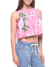 Sleeveless - S/L Floral Keyhole Back Top-2217825