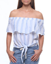 Sleeveless - Stripe Off Shoulder Ruffle Top/Tie Front-2215629