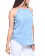 Women - Denim Washed Halter Tank/Ruffle Edge-2215587