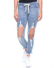 Jeans - Destructed Frayed Hem Denim Jogger-2216037