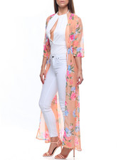 Women - Elbow Sleeve Flora Tie Waist Duster-2215651
