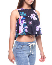Fashion Tops - S/L Floral Keyhole Back Top-2217834