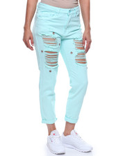 Women - High Rise Destroyed Studded Boyfriend Jean-2216064