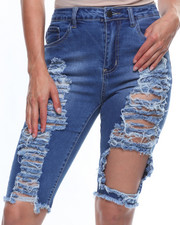 Women - Destructed Denim Bermuda-2215891