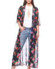 Women - Elbow Sleeve Flora Tie Waist Duster-2215565