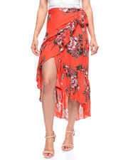 Women - Floral Wrap Skirt Tie Waist-2215599