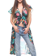 Fashion Tops - Flutter Sleeve Printed Hilo Duster-2215642