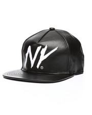 Hats - Faux leather NY Snapback Hat-2218000
