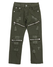Phat Farm - Stretch Fine Twill Rip & Repair Moto Zip Pant (4-7)-2217269