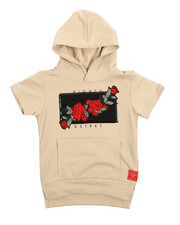 Arcade Styles - French Terry Embroidered Rose Patch Hooded Tee (4-7)-2217324