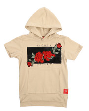 Arcade Styles - French Terry Embroidered Rose Patch Hooded Tee (8-20)-2217328