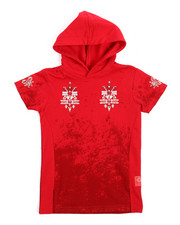 Arcade Styles - French Terry Embroidered Hooded Tee (4-7)-2217337