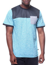 Shirts - MESH AND SLUB CUT & SEW TEE-2220040