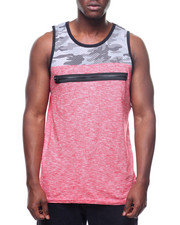 Buyers Picks - Camo Mesh and Slub Tank w Zip Detail-2220008