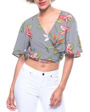 Fashion Lab - Floral Stripe Wrap Tie Front Blouse-2218549