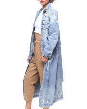 Outerwear - Maxi Length Denim Jacket-2220230