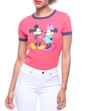 Graphix Gallery - Mickey & Minnie Mouse Front/Back Print Ringer Tee-2219056